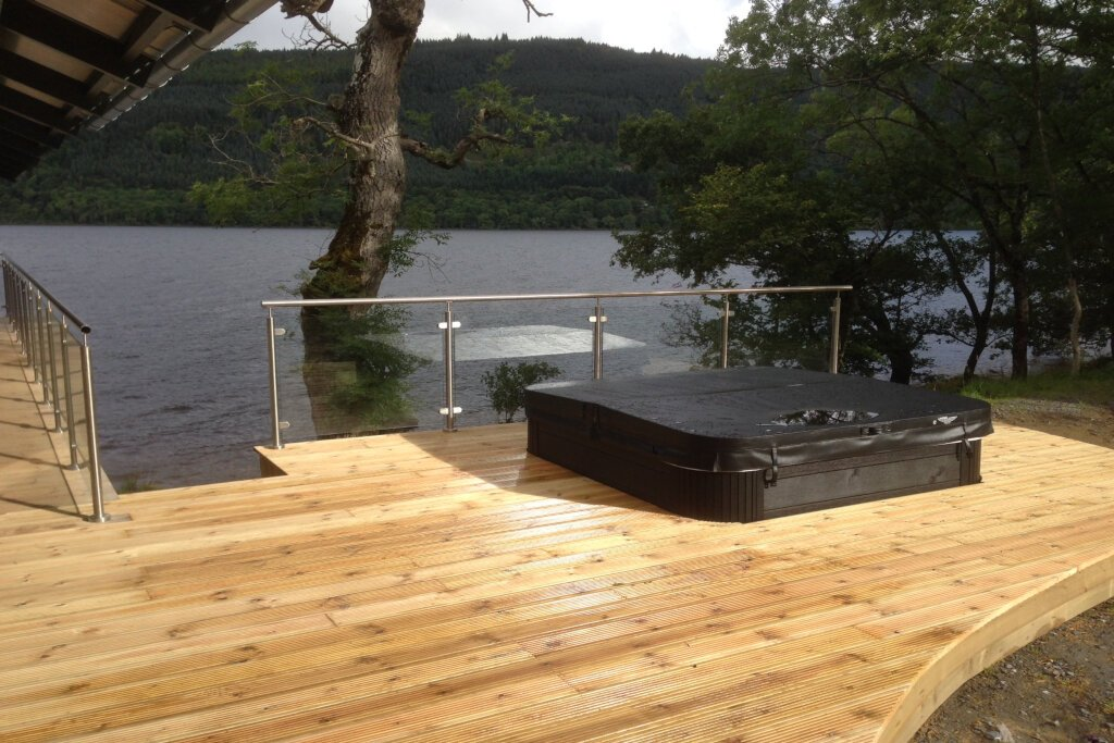 Hot Tub on Boathouse decking at Loch Tay in Scotland