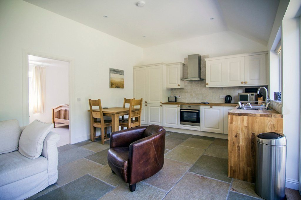 almond cottage living and kitchen area