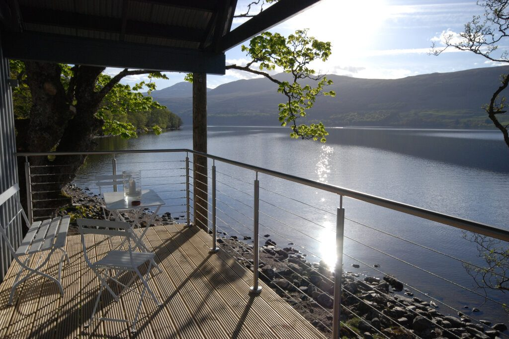 boathouse lodge decking view at loch tay
